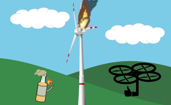 Brandanschlag auf eine Windkraftanlage